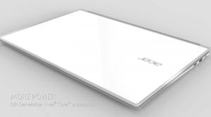 Acer Aspire S7 - aspect exterior superb de sticlă albă
